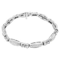 14K White Gold 2.00 Carat Princess and Baguette-Cut Diamond Link Bracelet