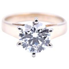 14 Karat White Gold 2.00 Carat Diamond Solitaire Engagement Ring GIA Certified