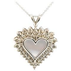 14 Karat White Gold 2.00 Carat Round Diamond Heart on 14 Karat Gold Necklace