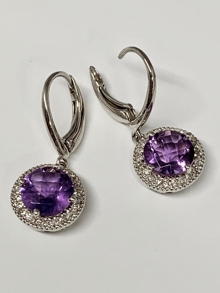 Contemporary 14 Karat White Gold 2.24 Carat Total Weight Amethyst and Diamond Drop Earrings For Sale