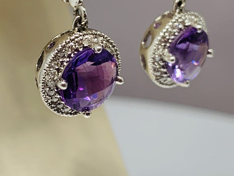 14 Karat White Gold 2.24 Carat Total Weight Amethyst and Diamond Drop Earrings In New Condition For Sale In Gainesville , FL