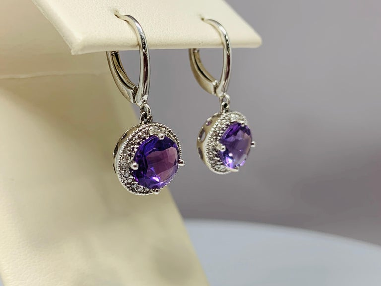 Women's or Men's 14 Karat White Gold 2.24 Carat Total Weight Amethyst and Diamond Drop Earrings For Sale