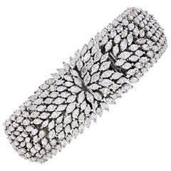 14 Karat White Gold 25 Carat Marquise Cut Cluster Diamond Bracelet