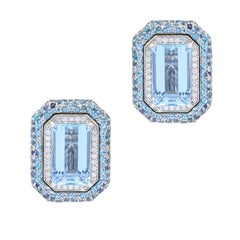 14 Karat White Gold 25.00 Carat Aquamarine and Diamond Earrings