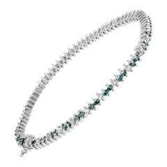 14K White Gold 3 3/4ct.TDW Treated Blue Diamond Tennis Bracelet 'H-I,SI1-SI2'