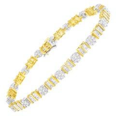 14k White Gold 3-3/8 Ctw Diamond Cluster Alternating Station Tennis Bracelet
