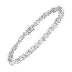 14K White Gold 3 3/8 Ctw Diamond Cluster Alternating Station Tennis Bracelet