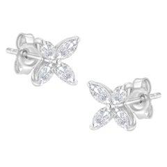 14K White Gold 3/4ct. TDW Marquise Diamond Flower Stud Earrings