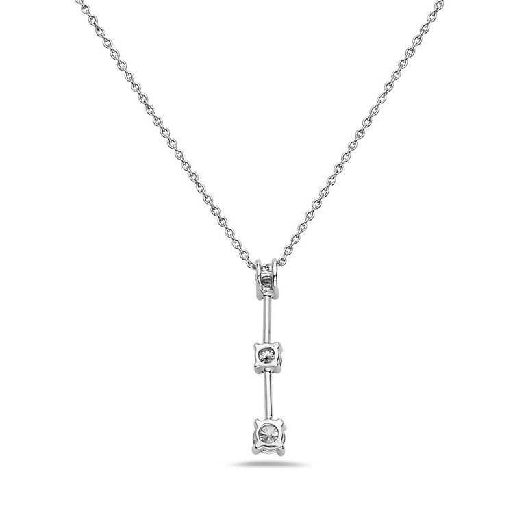 Modern 14 Karat White Gold 3 Diamond Pendant Necklace For Sale
