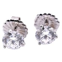 14 Karat White Gold 3.00 Carat Diamond Stud Earrings