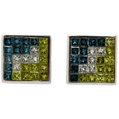 14K White Gold 3.50 carat Princess Cut Irradiated Blue & Yellow Diamond Earrings
