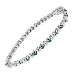 14K White Gold 3ct. TDW Round-Cut Treated Blue Diamond Bracelet 'Blue, I2-I3'