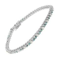 14K White Gold 4 5/8 Cttw White and Treated Blue Diamond Tennis Bracelet