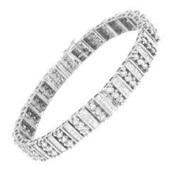 14k White Gold 4 7/8 Cttw Baguette & Round Diamond Tennis Bracelet