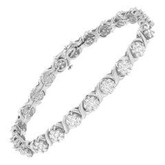 14K White Gold 4 7/8 Cttw Diamond Cluster X-Link Bracelet 'I-J, SI2-I1'