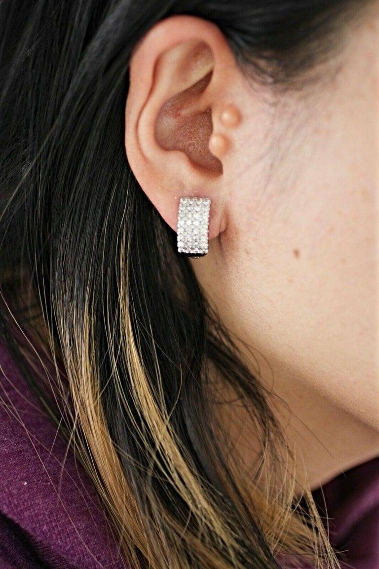 14 Karat White Gold 4-Row Diamond Huggies In New Condition In Los Angeles, CA