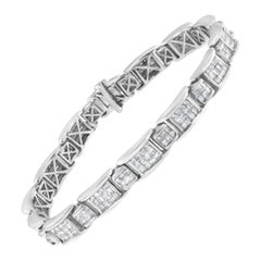 14K White Gold 5 Cttw Diamond Link Bracelet 'G-H Color, SI1-SI2 Clarity'