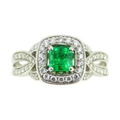 14k White Gold .56ct Genuine Natural Emerald and Diamond Halo Ring '#J5003'