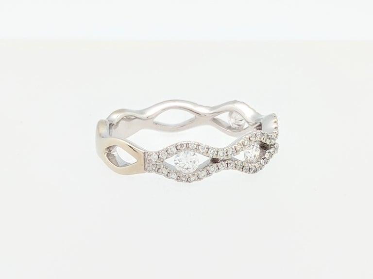 14 Karat White Gold 61 Carat Infinity Diamond Wedding Band Ring At
