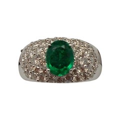 14k White Gold .81ct Genuine Natural Emerald Ring with Diamonds '#J667'