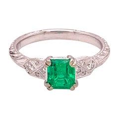 14k White Gold .89ct Genuine Natural Fine Emerald and Diamond Ring '#J4840'