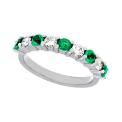 14 Karat White Gold 9-Stone Emerald and Diamond Ring