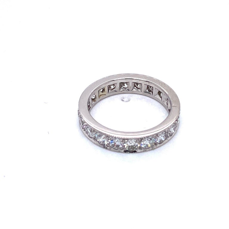 Round Cut 14 Karat White Gold and 2 Carat Diamond Eternity Band Ring For Sale