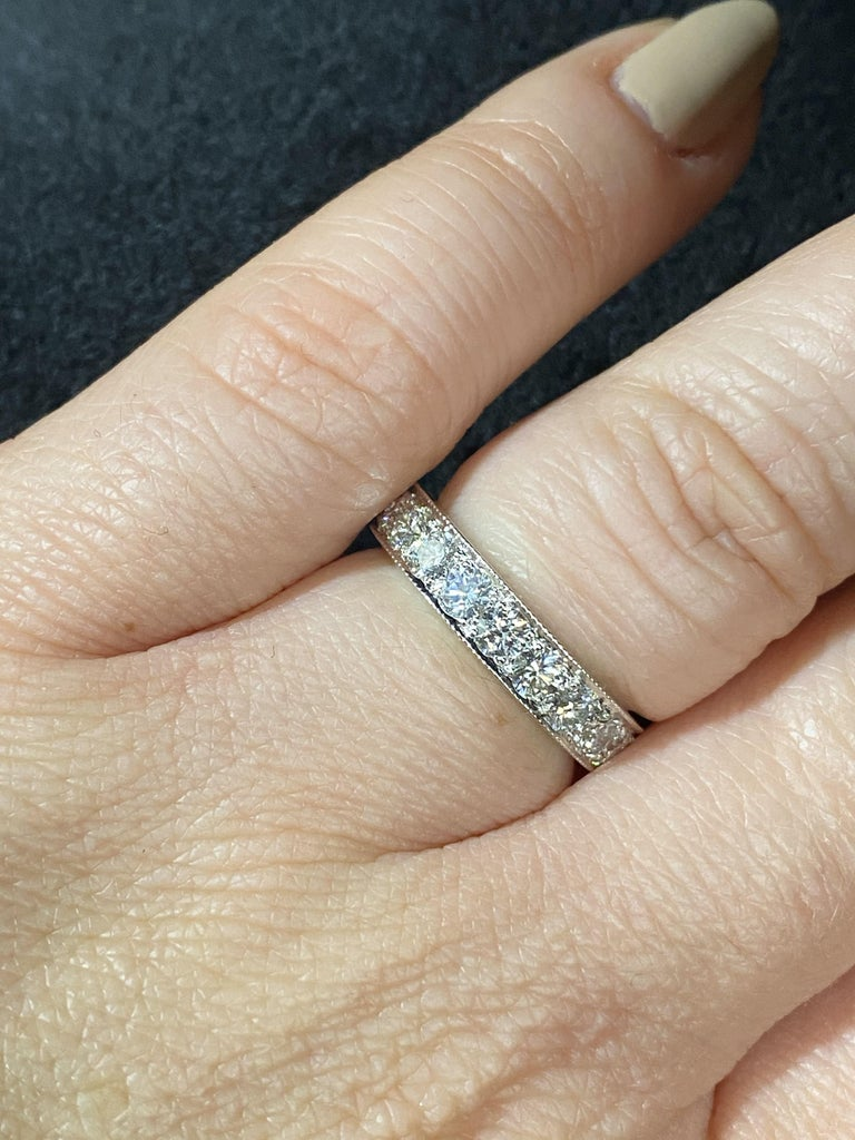 14 Karat White Gold and 2 Carat Diamond Eternity Band Ring In Excellent Condition For Sale In Brandford, CT