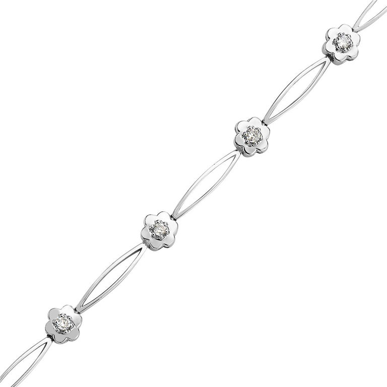Round Cut 14 Karat White Gold and Diamond Flower Bracelet For Sale