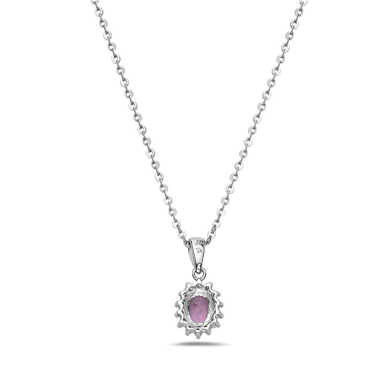 Modern 14 Karat White Gold and Pink Sapphire Diamond Pendant Necklace For Sale