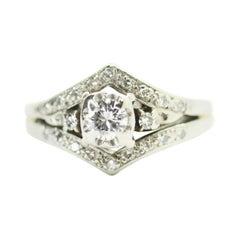 14K White Gold Antique Round Diamond Ring