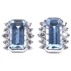 14 Karat White Gold Aquamarine and Diamond Earrings