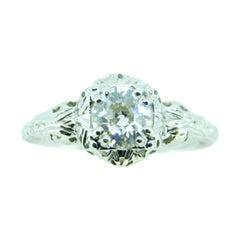 14k White Gold Art Deco .75ct Genuine Natural Diamond Filigree Ring '#J4432'