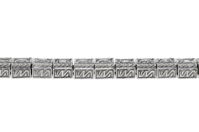 """14 Karat White Gold """"Art Deco Style"""" Diamond Tennis Bracelet In New Condition For Sale In New York, NY"""