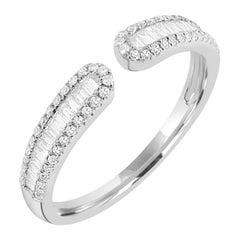 14k White Gold Baguette Diamond Cuff Ring