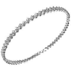 14K White Gold Bangle with Zig-Zag Chevron White Diamond 2.08 Carat by Manart