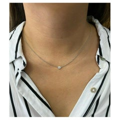 14k White Gold Bezel Set .33pt Diamond Solitaire Pendant