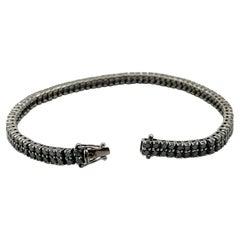 14K White Gold Black Diamond Double Tennis Bracelet Grams 13.5