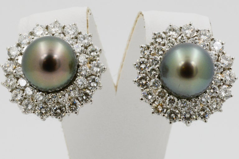 14 Karat White Gold Black South Sea Pearl and Diamond Earrings In Good Condition For Sale In Dallas, TX