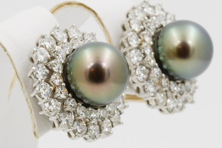 Women's 14 Karat White Gold Black South Sea Pearl and Diamond Earrings For Sale