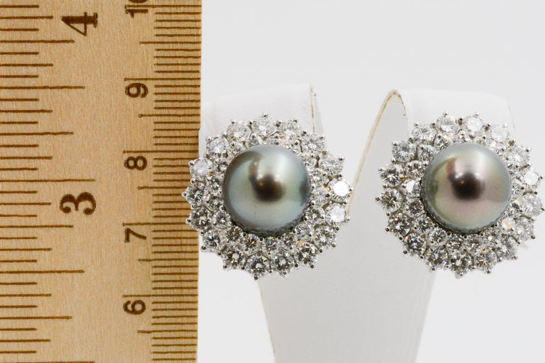 14 Karat White Gold Black South Sea Pearl and Diamond Earrings For Sale 2