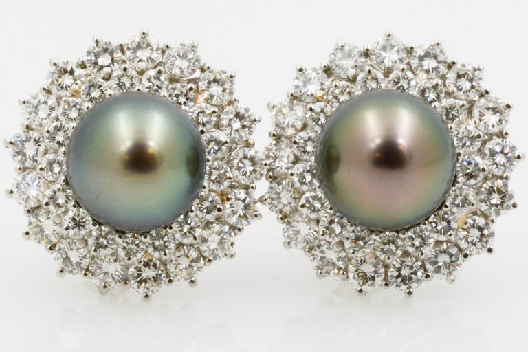 14 Karat White Gold Black South Sea Pearl and Diamond Earrings For Sale 3