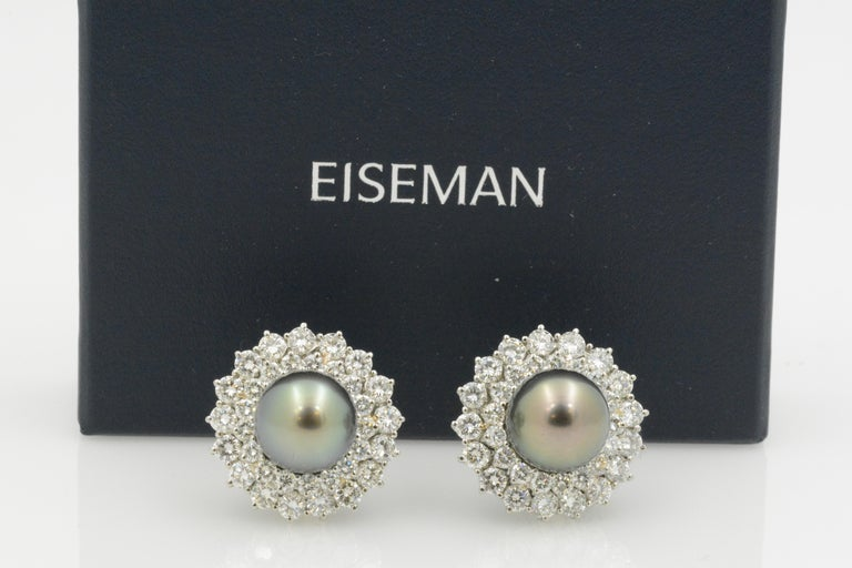 14 Karat White Gold Black South Sea Pearl and Diamond Earrings For Sale 4