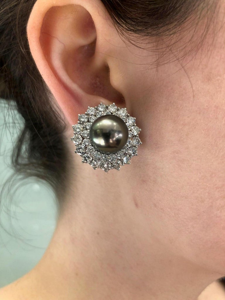14 Karat White Gold Black South Sea Pearl and Diamond Earrings For Sale 6