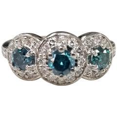 14k White Gold Blue Diamonds Set with White Diamonds Around the Center Diamonds