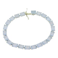 14k White Gold Blue Grey Genuine Natural Chalcedony Tennis Bracelet '#J4233'