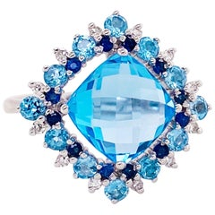 14k White Gold Blue Topaz, Sapphire and Diamond Ring