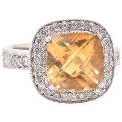14 Karat White Gold Citrine and Diamond Intricate Ring