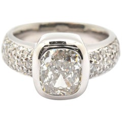 14k White Gold Cushion 2.20ct Diamond Engagement Ring with Pave Diamond Mounting