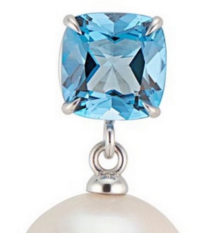 Contemporary 14 Karat White Gold Cushion Cut London Blue Topaz Baroque Pearl Earrings For Sale